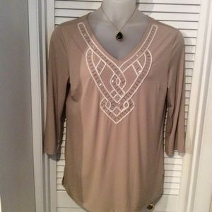 Jaclyn Smith size L tan top with beading